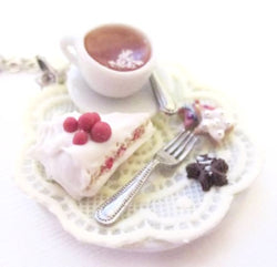 Cranberry Christmas Cake and Tea Necklace, Miniature Food Jewelry