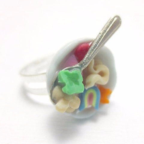 Lucky Charms Cereal Ring, Miniature Food Jewelry, Polymer Clay Food Jewelry