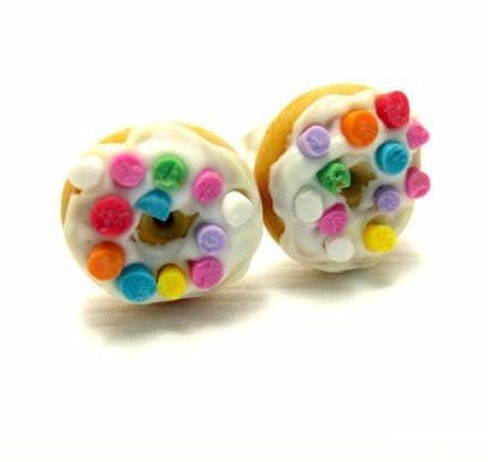 Vanilla Donut with Sprinkles Earrings, Miniature Food Jewelry, Polymer Clay Food Jewelry