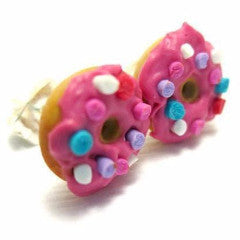 Donut with Strawberry Icing and Sprinkles Earrings, Miniature Food Jewelry