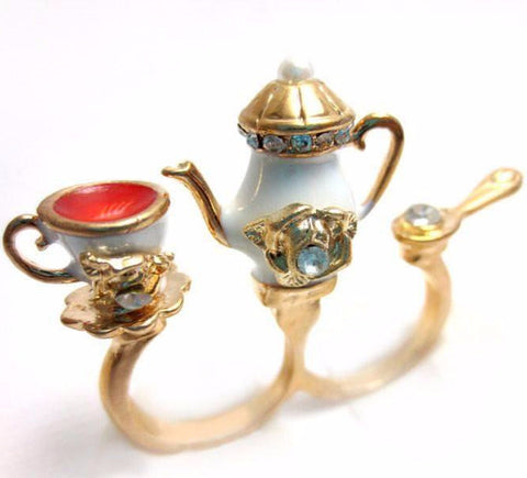 Tea Set Double Finger Ring, Miniature Food Jewelry, Polymer Clay Food Jewelry