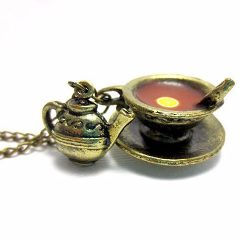Vintage Bergamot Tea Necklace, Miniature Food Jewelry, Polymer Clay Food Jewelry