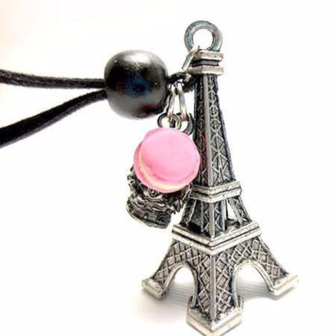 Eiffel Tower Macaron Necklace, Miniature Food Jewelry, Polymer Clay Food Jewelry