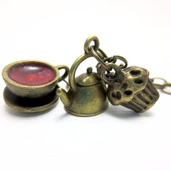 Bronze Tea Time Necklace, Miniature Food Jewelry, Polymer Clay Food Jewelry