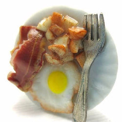 Egg Bacon and Home Fries Ring, Miniature Food Jewelry, Polymer Clay Food Jewelry