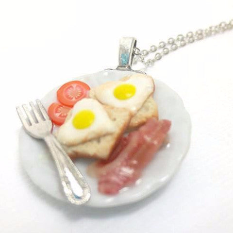 Heart Egg and Bacon Necklace, Miniature Food Jewelry, Polymer Clay Food Jewelry