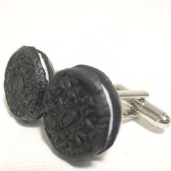 Oreo Cookie Cuff Links, Miniature Food Jewelry, Polymer Clay Food men