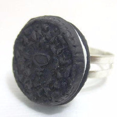 Oreo Cookie Ring, Miniature Food Jewelry, Polymer Clay Food Jewelry