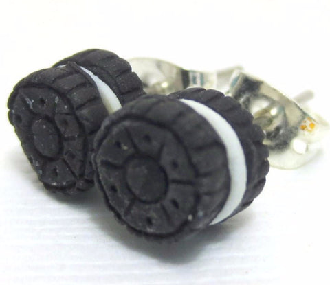 Oreo Cookie earrings, Miniature Food Jewelry, Polymer Clay Food Jewelry