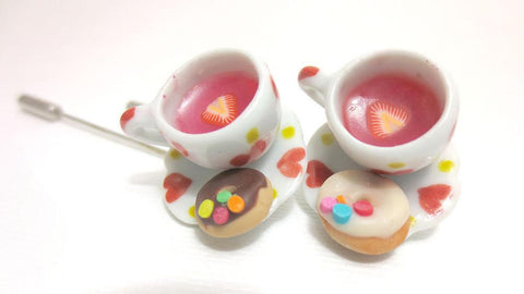 Heart Tea Cup Stick Pin (pink One), Miniature Food Jewelry, Polymer Clay Food Jewelry