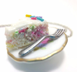 Confetti Vanilla Cake Necklace, Miniature Food Jewelry, Polymer Clay Food Jewelry