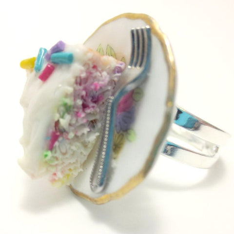 Confetti Vanilla Cake Ring, Miniature Food Jewelry, Polymer Clay Food Jewelry