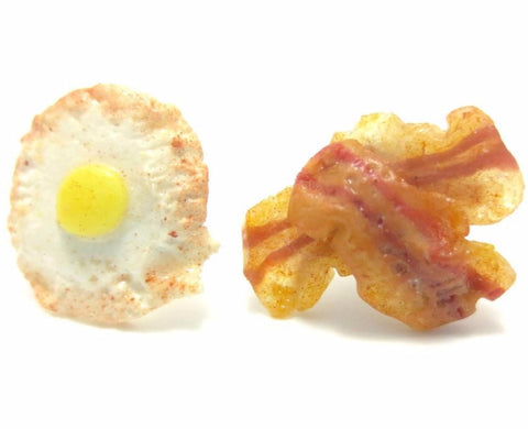 Egg and Bacon Stud Earrings, Miniature Food Jewelry, Polymer Clay Food Jewelry