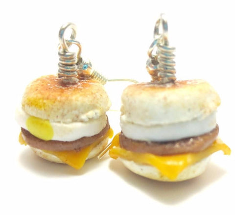 Sausage egg muffin Breakfast Earrings, Miniature Food Jewelry, Polymer Clay Food Jewelry