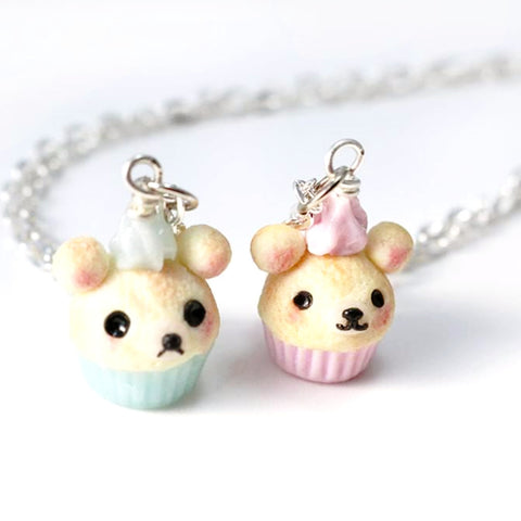 Kawaii Bear Cupcake, Polymer Clay Jewelry, Miniature Food Jewelry