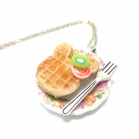Kawaii Bunny Waffle Necklace, Miniature Food Necklace, Polymer Clay Food Jewelry