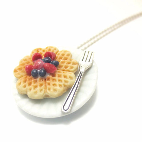 Berry Heart Waffle Necklace, Miniature Food Jewelry, Polymer Clay Food Necklace