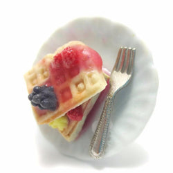 Berry Butter Waffle Ring, Miniature Food Jewelry, Polymer Clay Food Ring