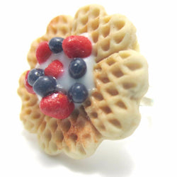 Berry Heart Waffle Ring, Miniature Food Jewelry, Polymer Clay Food Ring