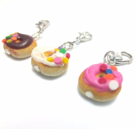 Donut with Half Sprinkles Charm, Miniature Food Jewelry, Polymer Clay Food Jewelry