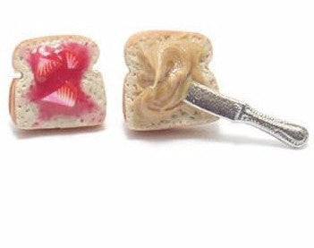 Peanut Butter and Strawberry Jam Toast Earrings, Miniature Food Jewelry, Polymer Clay Food Jewelry