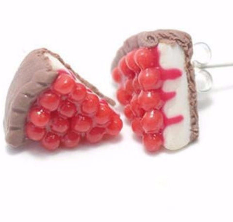 Berry Cheesecake Earrings, Miniature Food Jewelry, Polymer Clay Food Jewelry