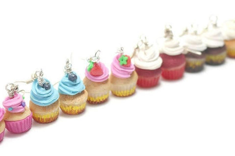 Cupcake Earrings, Miniature Food Jewelry, Polymer Clay Food Jewelry