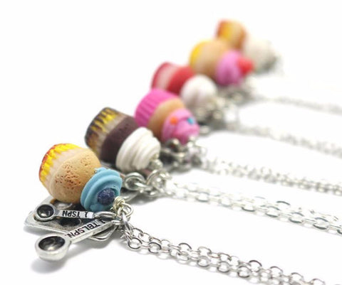 Cupcake Necklace, Miniature Food Jewelry, Polymer Clay Food Jewelry (Pick one)