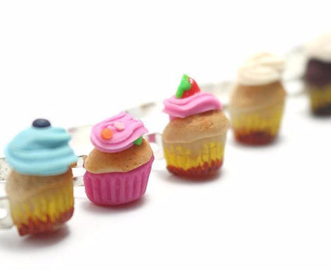 Half Cupcake Ring Collation (Pick One), Miniature Food Jewelry, Polymer Clay Food Jewelry