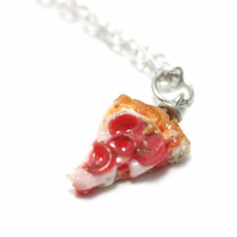 Pepperoni Pizza Necklace, Miniature Food Jewelry, Polymer Clay Food Jewelry