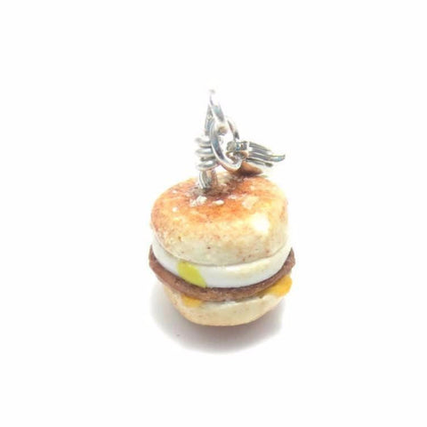 Sausage egg muffin Breakfast Charm, Miniature Food Jewelry, Polymer Clay Food Jewelry