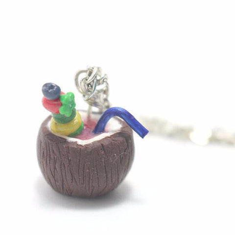 Summer Coconut Drink Necklace, Miniature Food Jewelry, Polymer Clay Food Jewelry