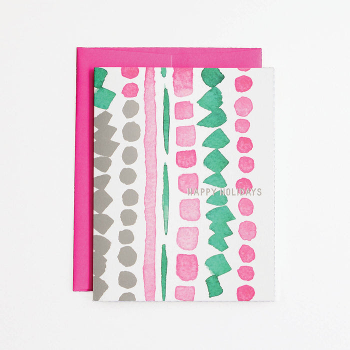 Pink and Green Holiday Card