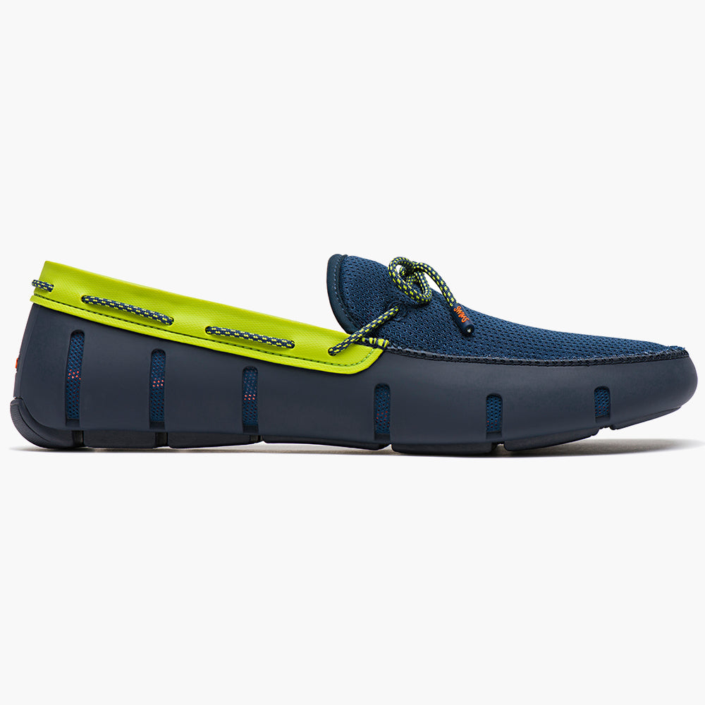 LACE FRONT LOAFER - NAVY/GREEN SPARKLE