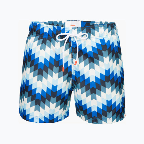 MONTEGO BAY SHORT PRINT - PEACOCK BLUE