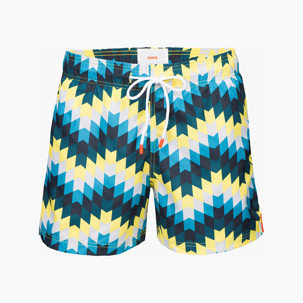 MONTEGO BAY SHORT PRINT - PEACOCK YELLOW