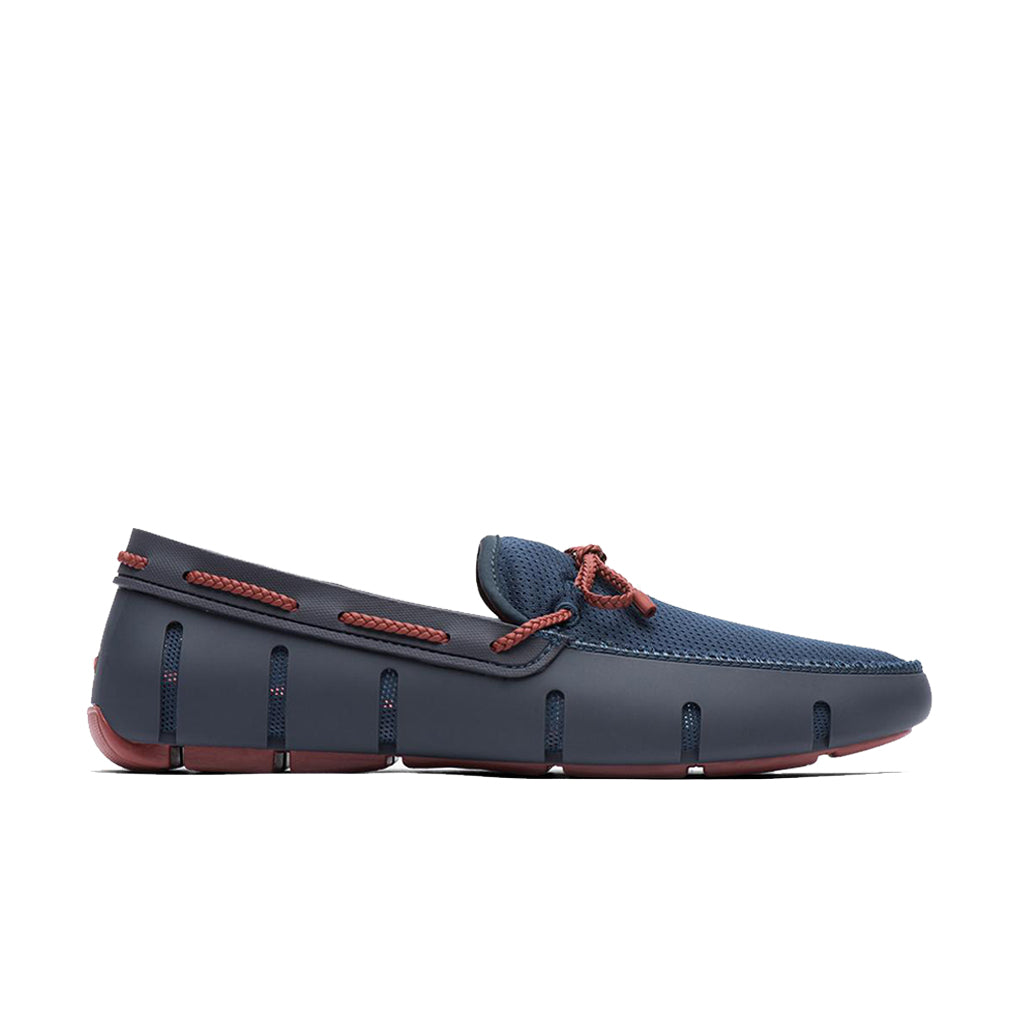 BRAID LACE LOAFER-NAVY/RED LACQUER