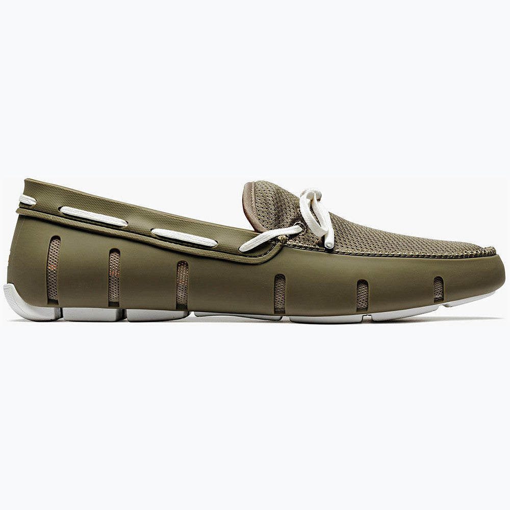 LACE FRONT LOAFER - KHAKI/WHITE