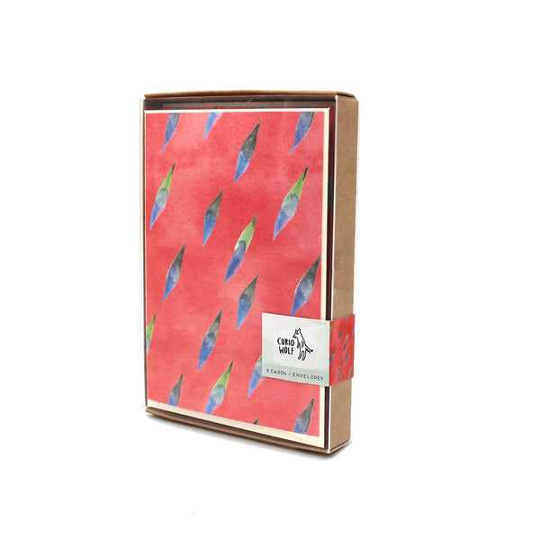 Brushy Blank Note Cards: Coral