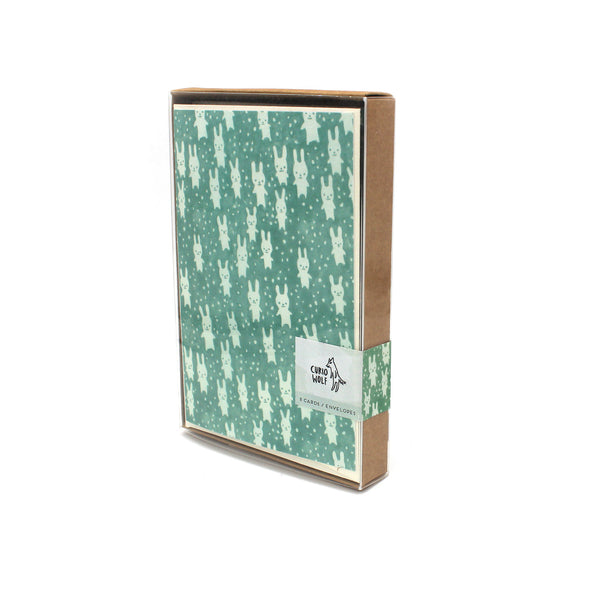 Bunnies Blank Note Cards: Teal