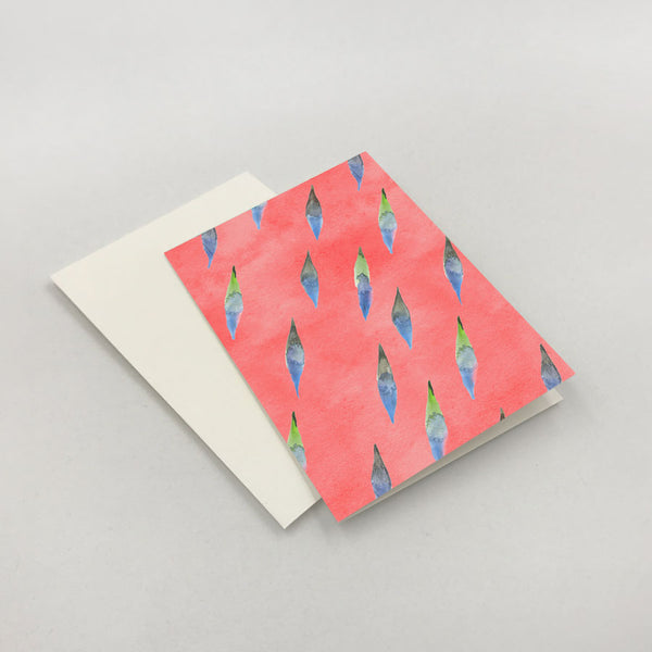 Brushy Folded Note Cards: Coral