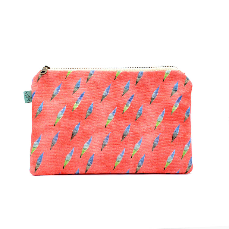 Brushy Flat Pouch: Coral