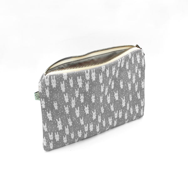Bunnies Flat Pouch: Gray