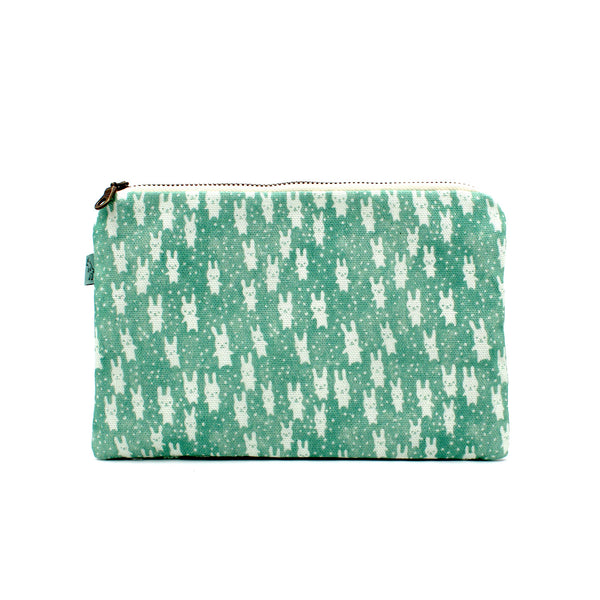 Bunnies Flat Pouch: Teal