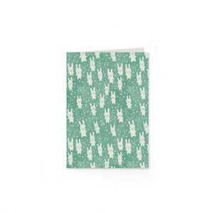 Bunnies Folded Note Cards: Teal