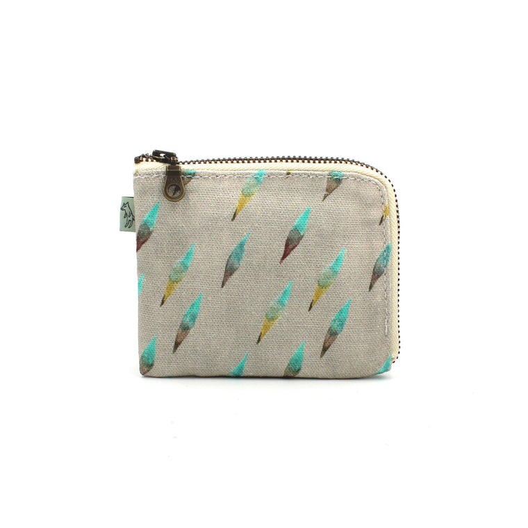 Brushy Corner Zip Wallet: Gray