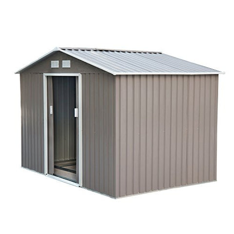 Outsunny 7' x 4' Outdoor Metal Garden Storage Shed - Gray/White