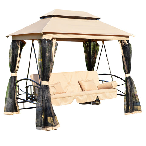 Outsunny Outdoor 3 Person Patio Daybed Canopy Gazebo Swing - Tan w/ Mesh Walls