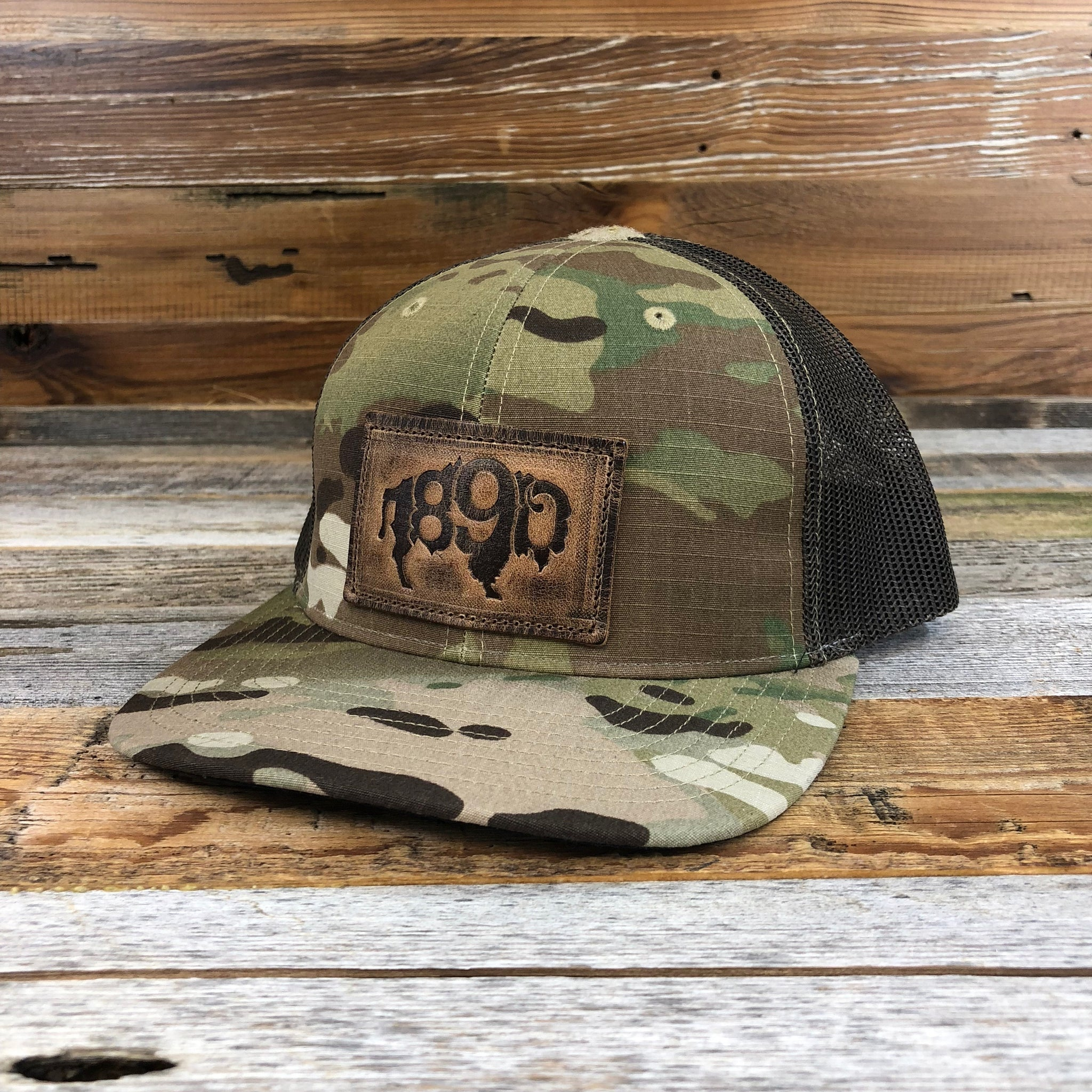 1890 Leather Buffalo Patch Snapback Hat- Camo