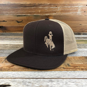 1890 Bucking Horse Snapback Hat- Chocolate/Tan